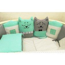 Комплект в детскую кроватку Котята 18 предметов (ментол)