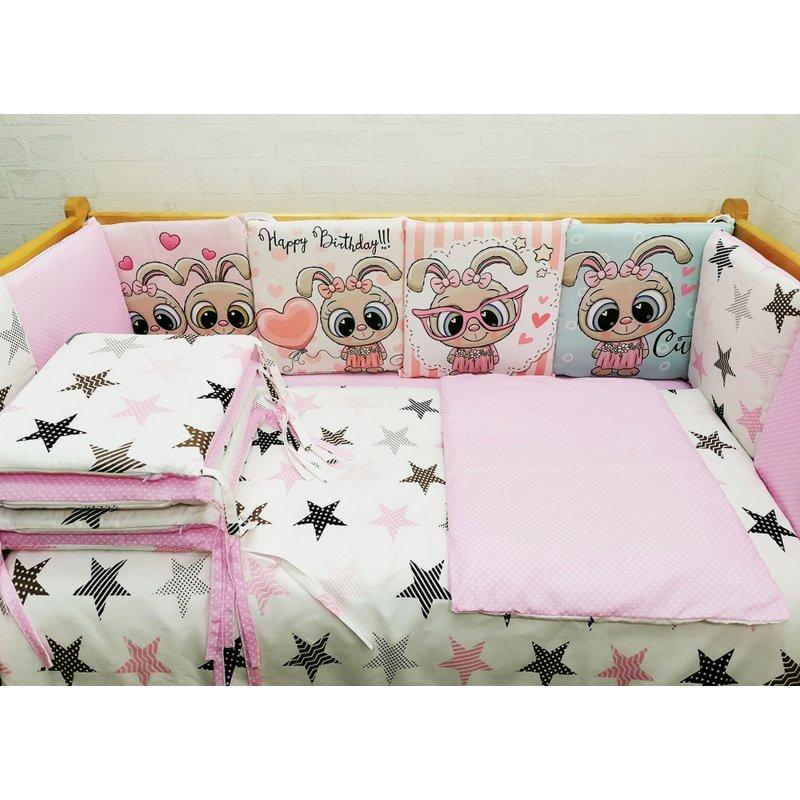 Комплект в кровать 17 предметов Панно розовый